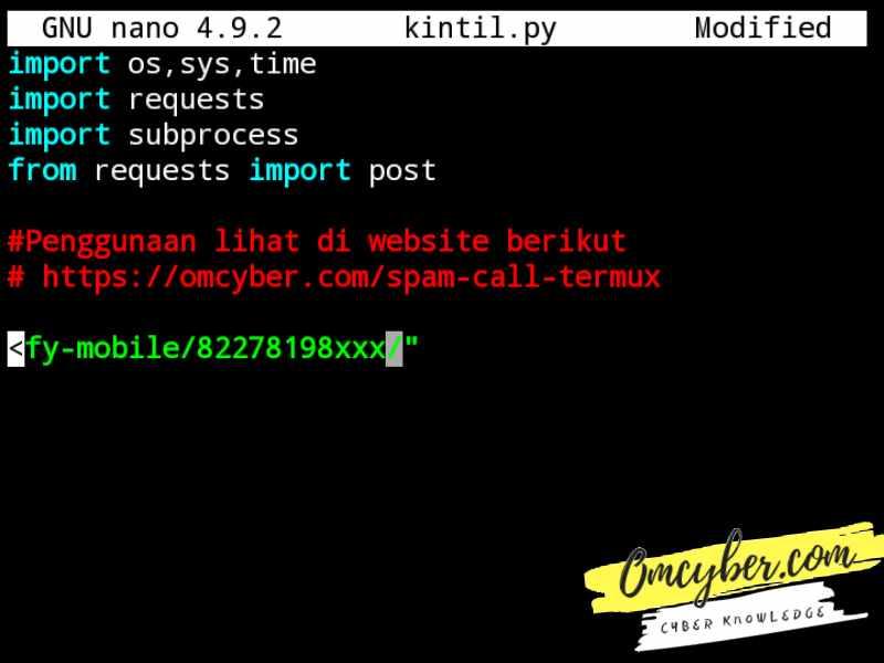 Cara edit nomer spam call termux