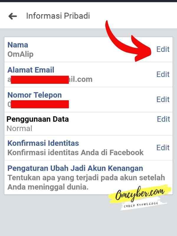 Edit nama Facebook