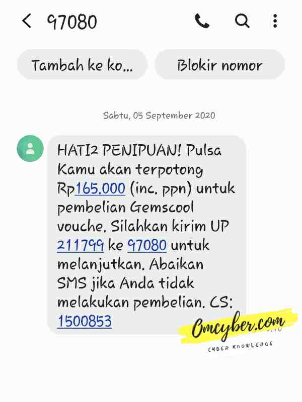 Hasil spam sms DZ tools