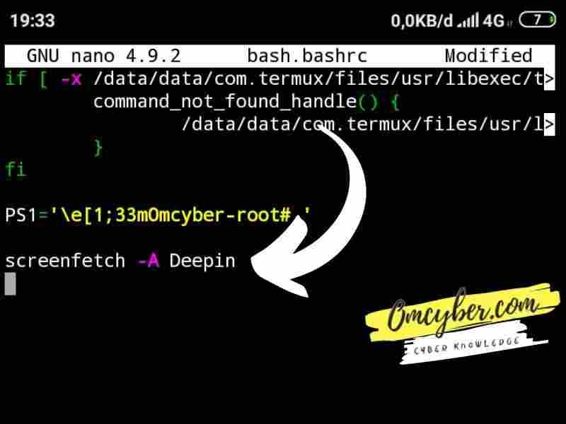 Penulisan Kode screenfetch termux