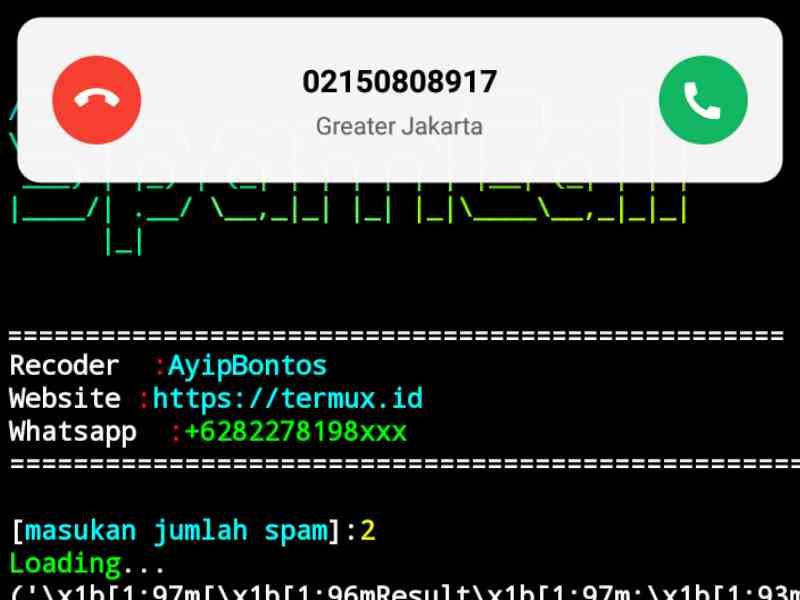 Spam call termux berhasil