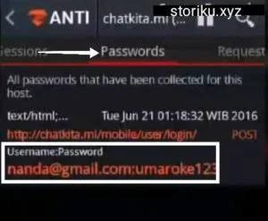 Username dan password yang barhasil dihack zanti