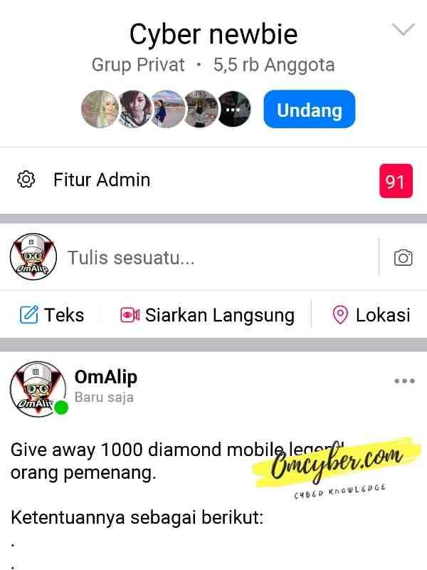 give away diamond ml gratis grup cyber newbie