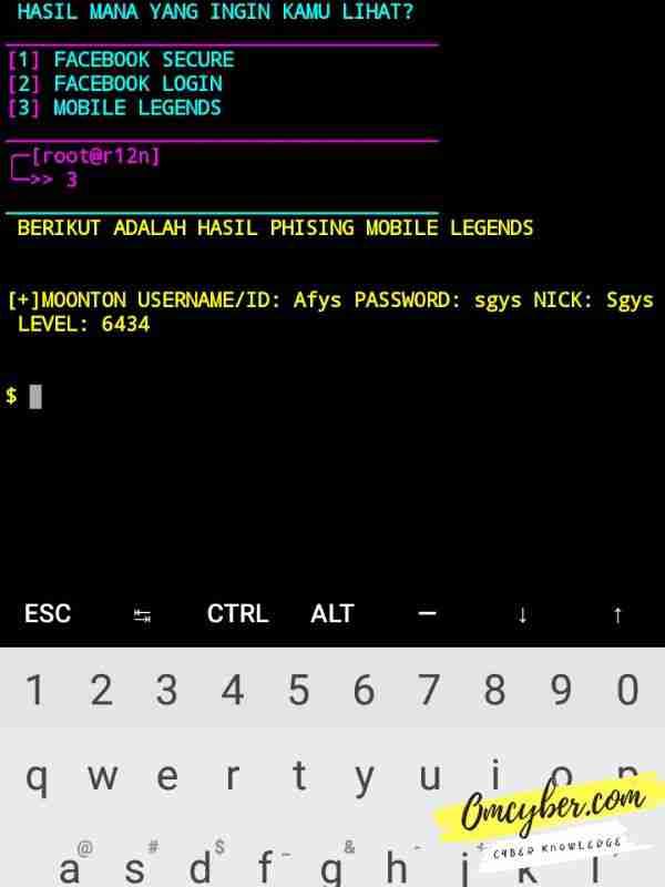 hasil yang masuk dari link script hack ml termux