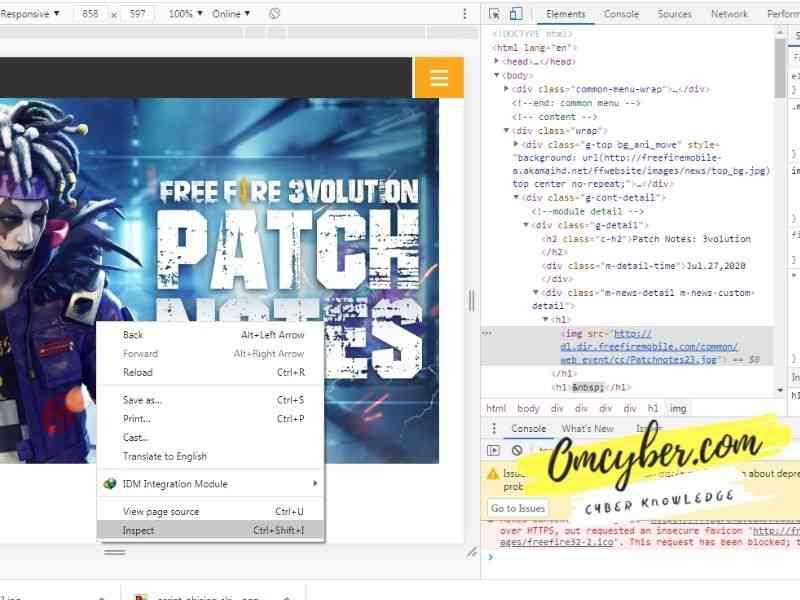 inspect halaman untuk melihat souce kode