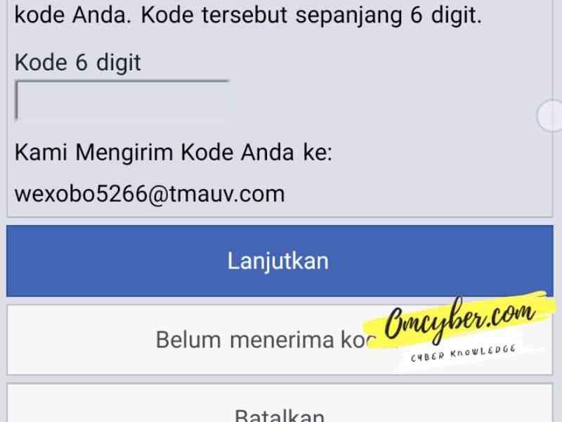 kode keamanan 6 digit facebook untuk membuat kata sandi baru