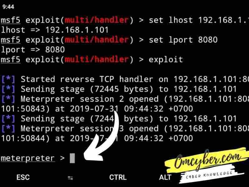 metasploit meterpreter (backdoor sudah terhubung)