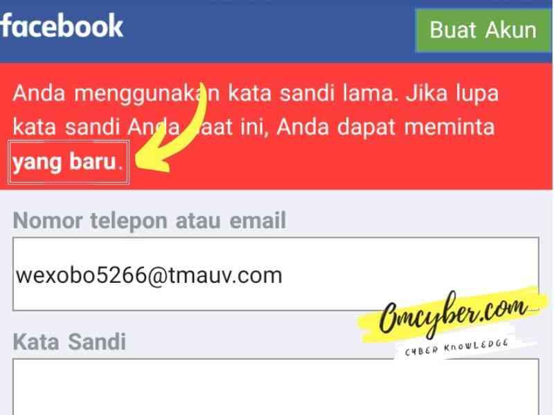 tombol meminta kata sandi baru akun facebook